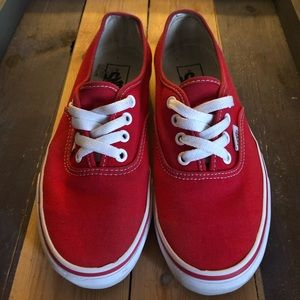 Boys red & white Vans deck shoes